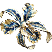 Early Vintage Enameled Orchid Pin