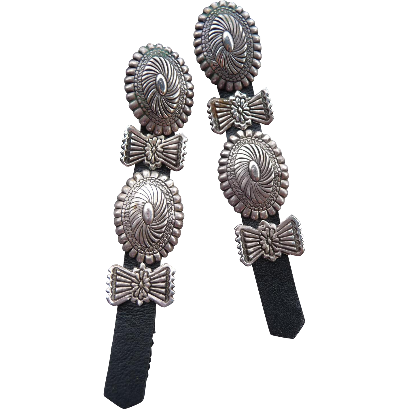 Unique Long Navajo Silver Concho Pierced Earrings