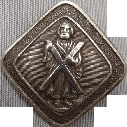 Vintage Figural Silver Button