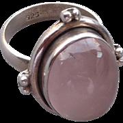Vintage Rose Quartz and Sterling Ring
