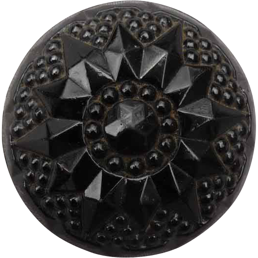Beautiful Large Domed Black Glass Vintage Button