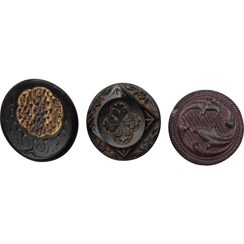 Buttons- Three related Vintage Black Glass Buttons