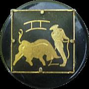 Vintage Damascene Bullfight Button
