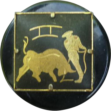 Vintage Damascene Bullfight Button