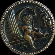 Vintage Brass Angel Button