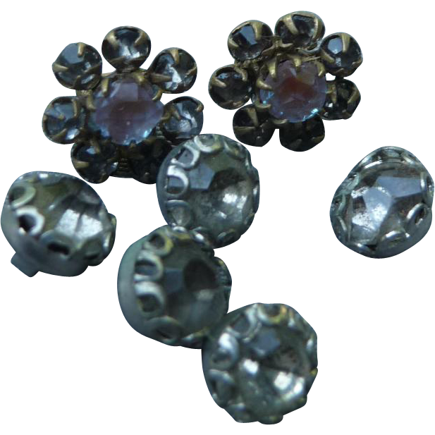 Set of tiny Doll's Vintage Rhinestone Buttons