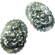 Vintage Silver Napier Clip Earrings