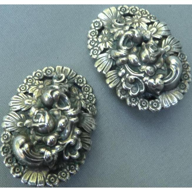 Vintage Silver Napier Clip Earrings