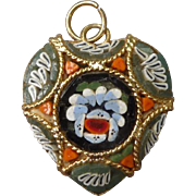 Vintage Italian Micro mosaic Heart Pendant