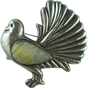 Old Silver Mexican Bird Pin