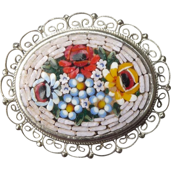 Lovely Vintage Mosaic Pin