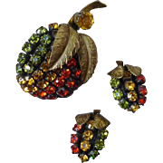 Beautiful Rhinestone Fruit Pin and Earrings