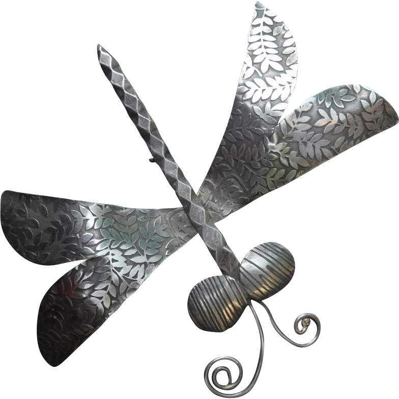 Unique Large Vintage Silver Dragonfly Pin