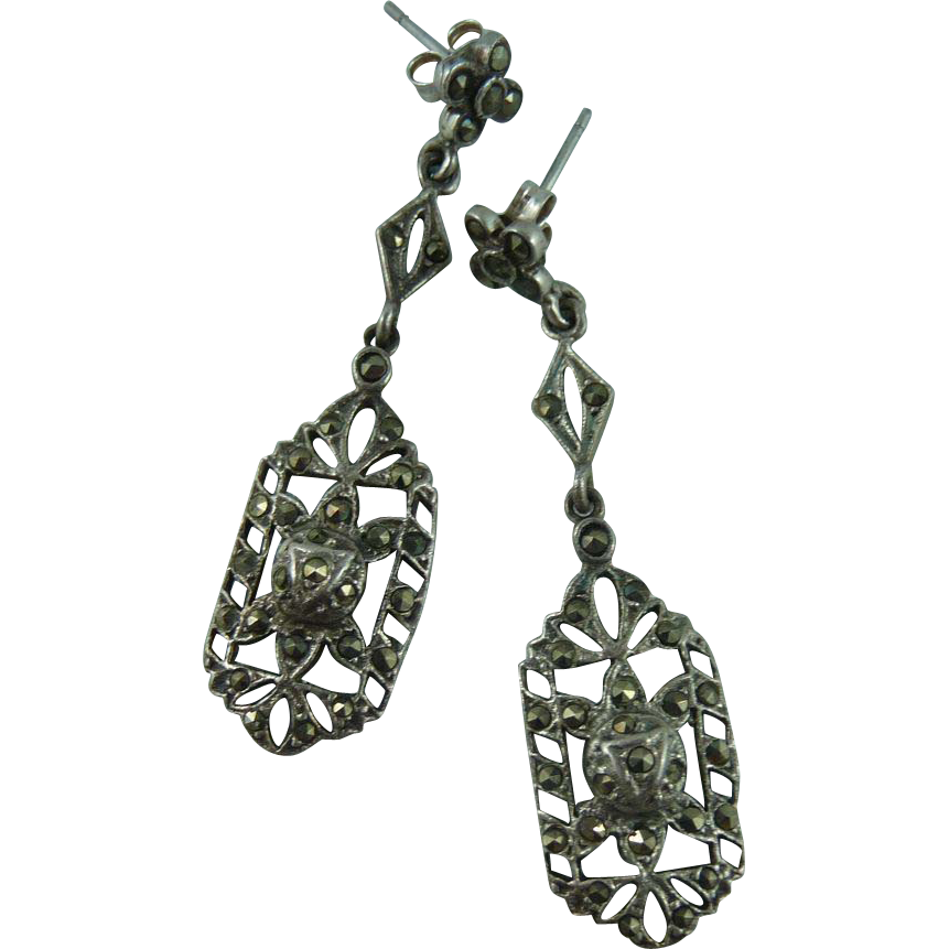 Sterling and Marcasite Deco Pierced Earrings