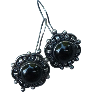 Beautiful Vintage Sterling and Onyx Earrings