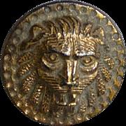 Vintage Gold Luster Black Glass Lion's Head Button