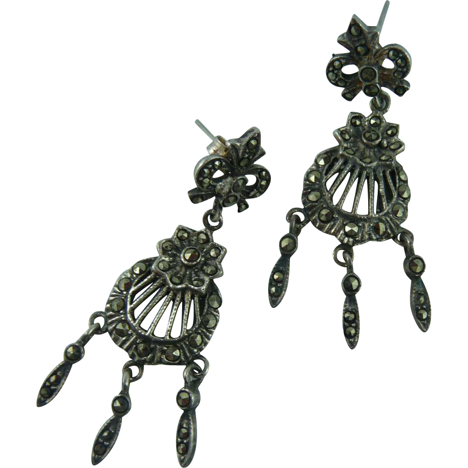 Silver and Marcasite Pierced Deco Earrings