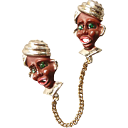 Vintage Ethnic Pin with Two Joined Heads