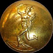 Vintage British Brass Button of Mercury