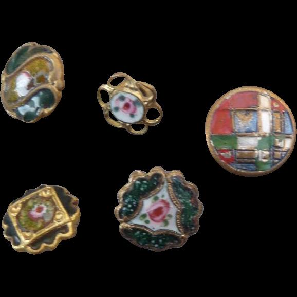 Five Tiny Vintage Enamel buttons