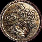 Vintage Brass Frog Button