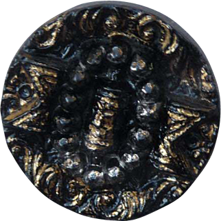 Lovely Vintage Gold Luster Black Glass Buckle Button
