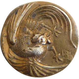 Wonderful Vintage Rooster Brass Button