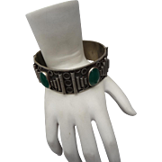 Beautiful Vintage Silver and Chrysophase Bracelet