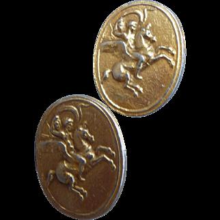 Interesting Gold Toned Unicorn Cufflinks