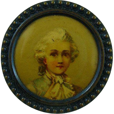 Rare 1800's French Lithograph Button
