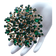 Exceptional Large Vintage Green Rhinestone Pin