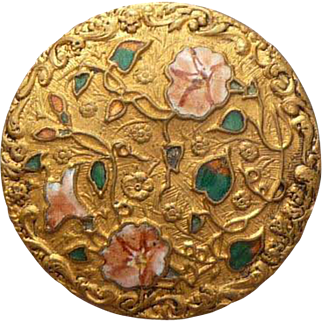 Beautiful Vintage Enamel and Brass Flower Button