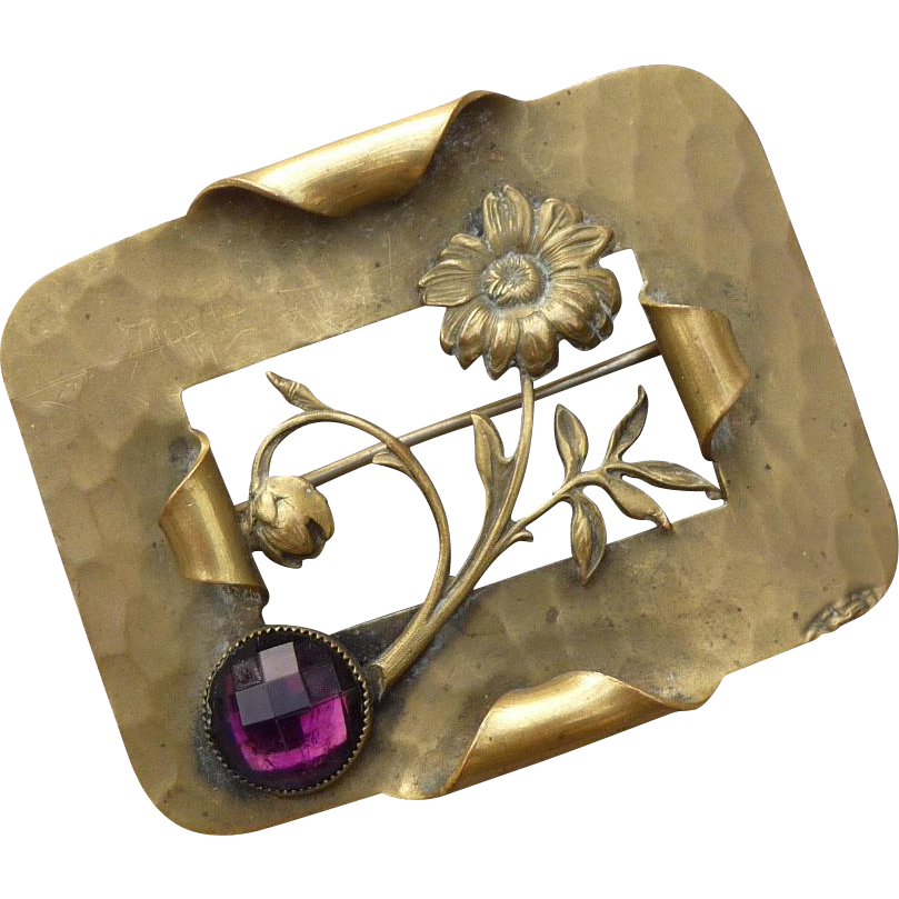 Arts and Craft Brass Hammered Flower Pin