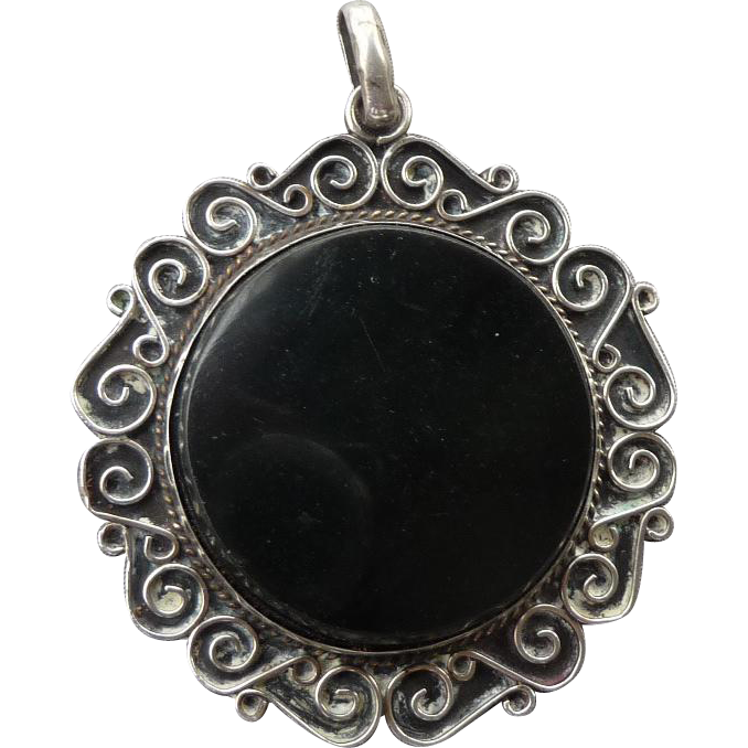 Extra Large Vintage Sterling and Onyx Pendant