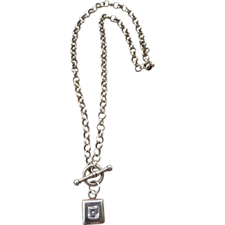 Vintage silver and Crystal Necklace