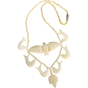 Interesting Vintage Bone Bird Necklace