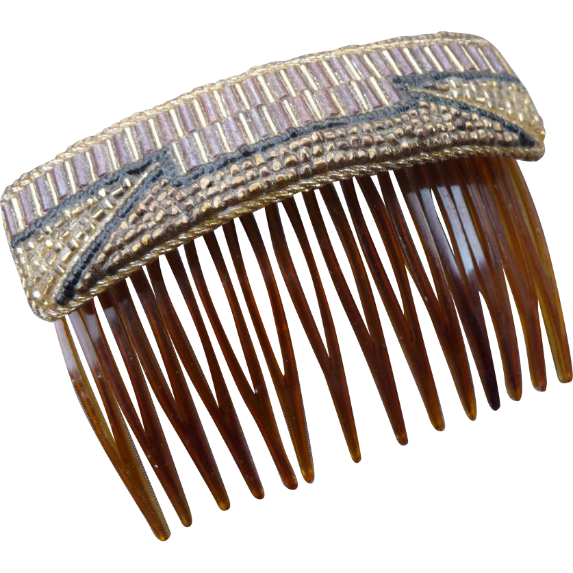 Vintage French Beaded Hair Comb