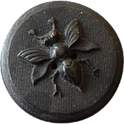 Unusual Vintage Wood Insect Button