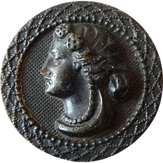 Vintage Black Wooden Cameo Style Button