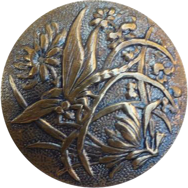 Vintage Paris Back Brass Butterfly Button