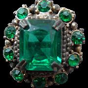Vintage Emerald Glass Vintage Button