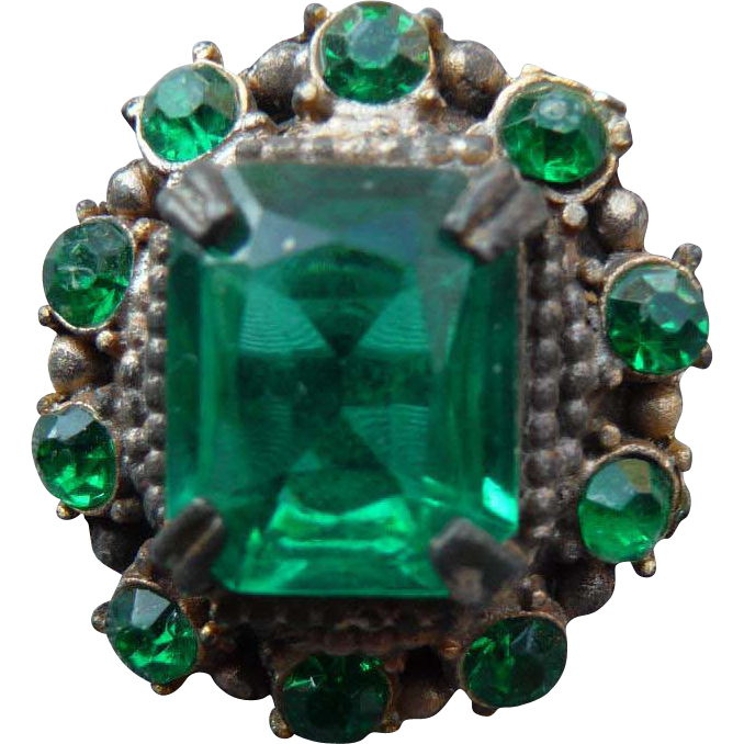 Vintage Emerald Glass Vintage Button