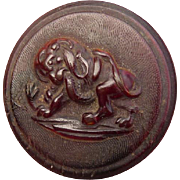 Vintage 1800's Mythical Animal Wood Button
