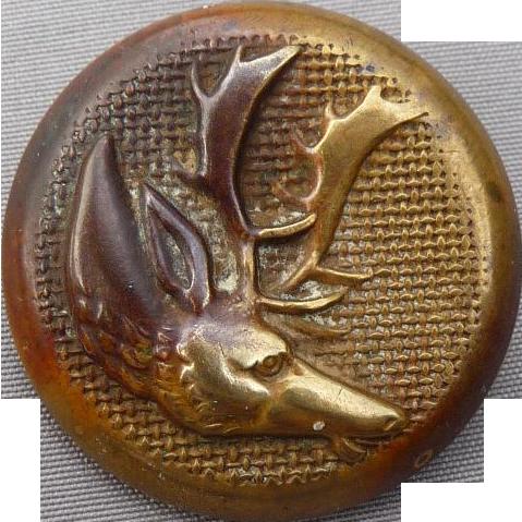 Fantastic Vintage Sporting Moose/Elk Button