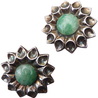 Lovely Large Sterling Silver and Jadeite Clip Mexican Earrings