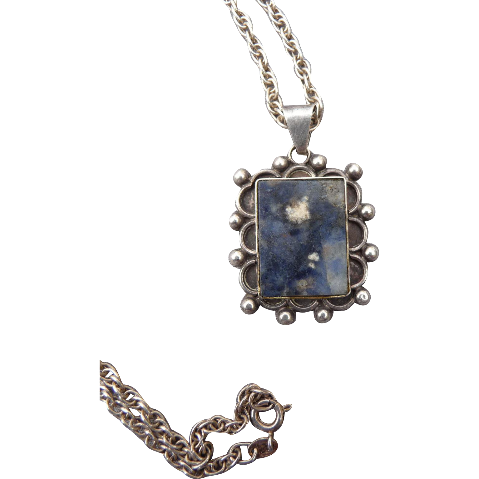 Vintage Silver Mexican Agate Pendant