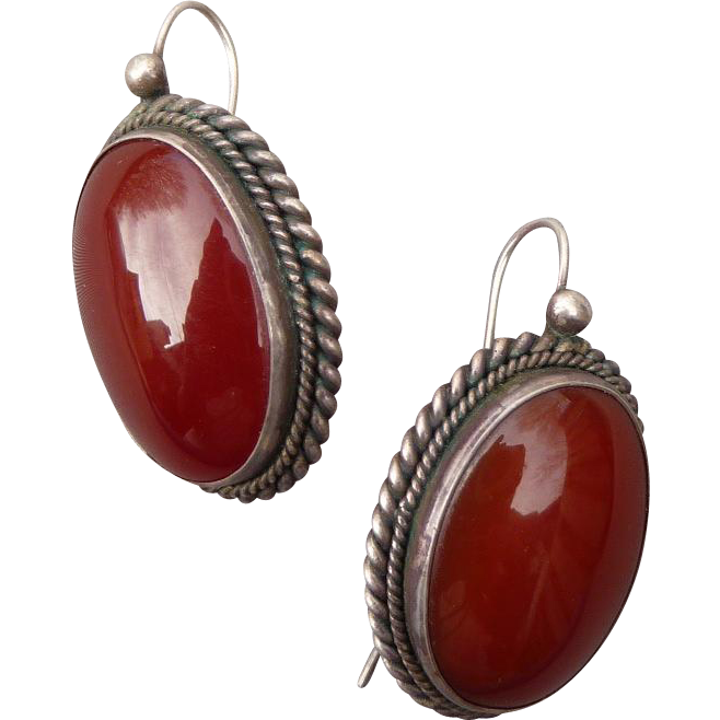 Lovely Vintage Silver and Carnelian Pierced Earrings
