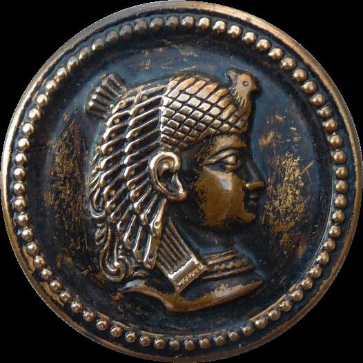 Vintage Large Cleopatra Brass Button