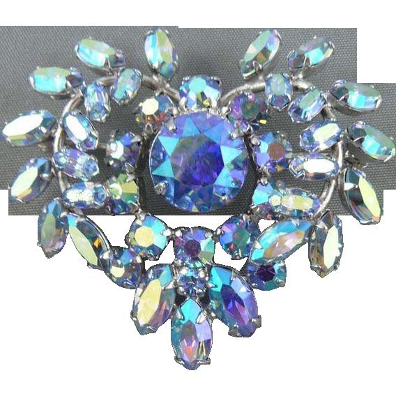 Sherman Blue Borealis Heart Pin
