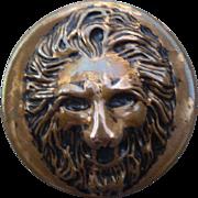 Vintage Brass Lion's Head Button
